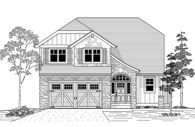 Craftsman European Tudor House Plan 44647 Elevation