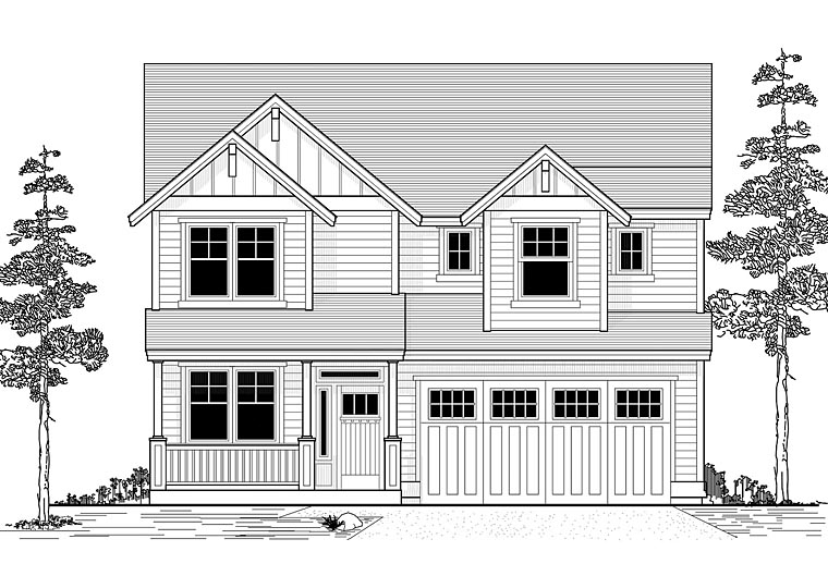 Country, Traditional House Plan 44651 with 4 Beds, 3 Baths, 2 Car Garage Elevation
