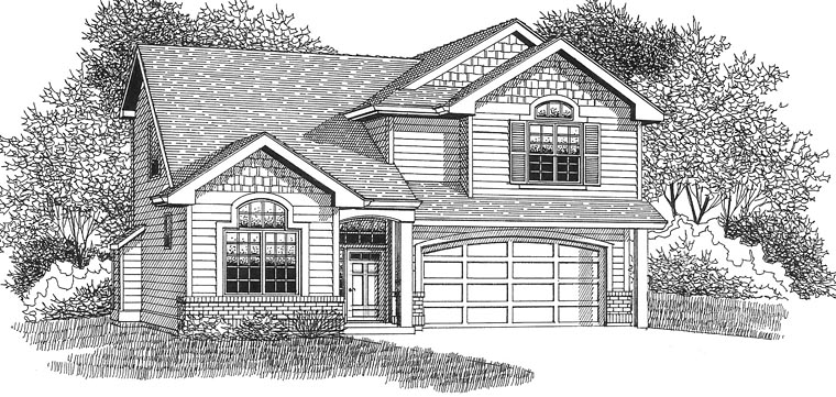 European Traditional House Plan 44654 Elevation