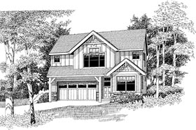 Craftsman , Traditional House Plan 44656 with 3 Beds, 3 Baths, 2 Car Garage Elevation