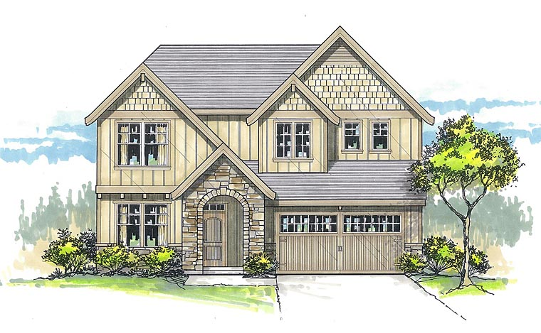 Country, Craftsman, Traditional House Plan 44658 with 5 Beds, 4 Baths, 2 Car Garage Elevation