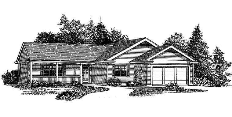 Ranch Traditional House Plan 44659 Elevation