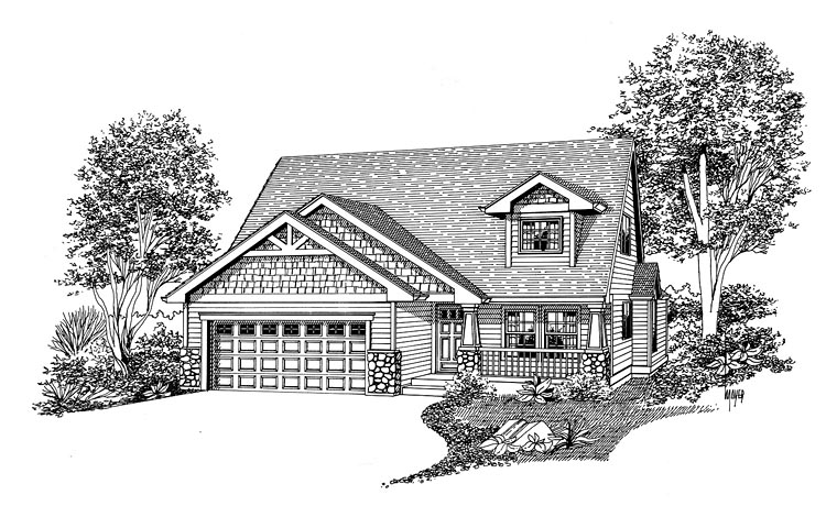 Bungalow, Cottage, Craftsman House Plan 44661 with 3 Beds, 3 Baths, 2 Car Garage Elevation