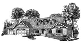 Country Craftsman Ranch House Plan 44664 Elevation