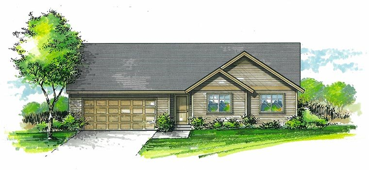 Ranch Traditional House Plan 44667 Elevation