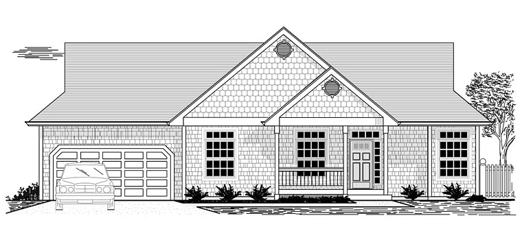 Cottage , Ranch , Traditional House Plan 44668 with 3 Beds, 2 Baths, 2 Car Garage Elevation