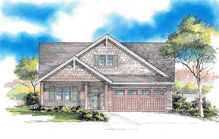 Craftsman , Ranch , Traditional House Plan 44671 with 3 Beds, 2 Baths, 2 Car Garage Elevation