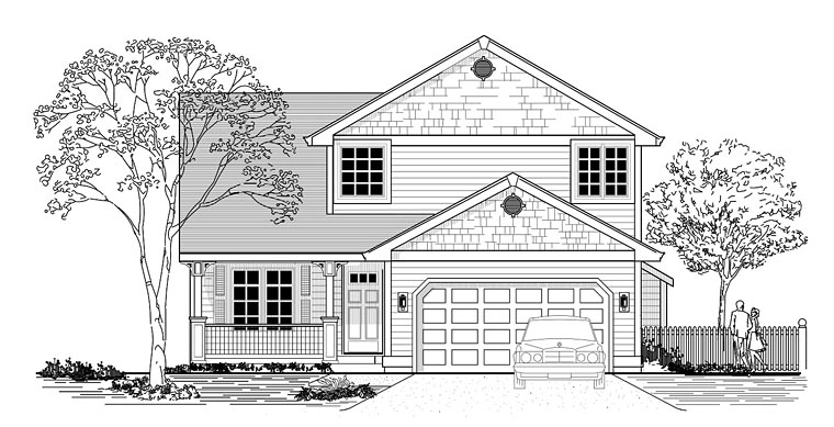 Craftsman, Traditional House Plan 44672 with 3 Beds, 3 Baths, 2 Car Garage Elevation