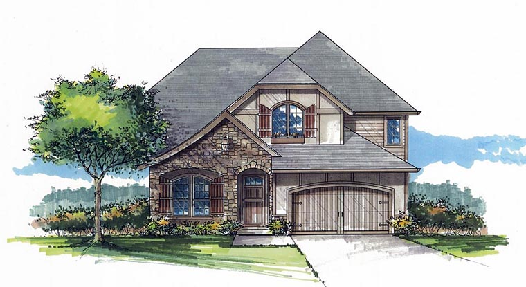 Craftsman European Tudor House Plan 44673 Elevation