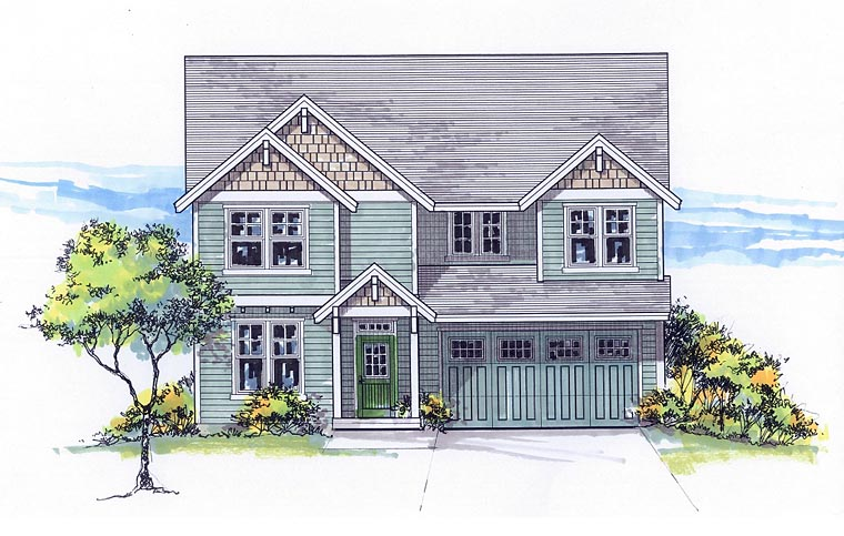 Colonial Country Craftsman Traditional House Plan 44675 Elevation