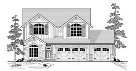 House Plan 44676 | Country Craftsman European Style Plan with 2679 Sq Ft, 4 Bedrooms, 3 Bathrooms, 3 Car Garage Elevation