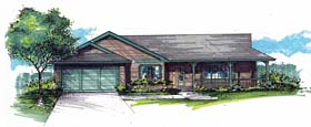 Country Ranch Traditional House Plan 44677 Elevation
