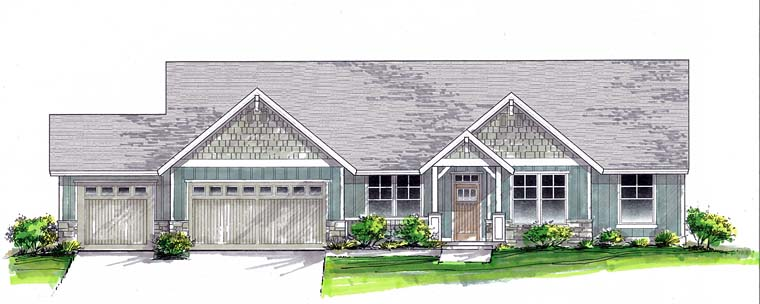 Country Craftsman Ranch Southern Traditional House Plan 44684 Elevation