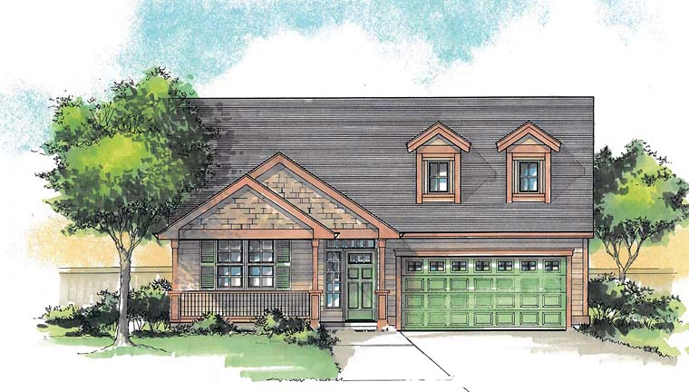 House Plan 44686 | Cabin Country Craftsman Southern Traditional Style Plan with 1768 Sq Ft, 3 Bedrooms, 2 Bathrooms, 2 Car Garage Elevation