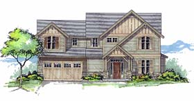 Country Craftsman Farmhouse Southern Traditional Tudor House Plan 44687 Elevation