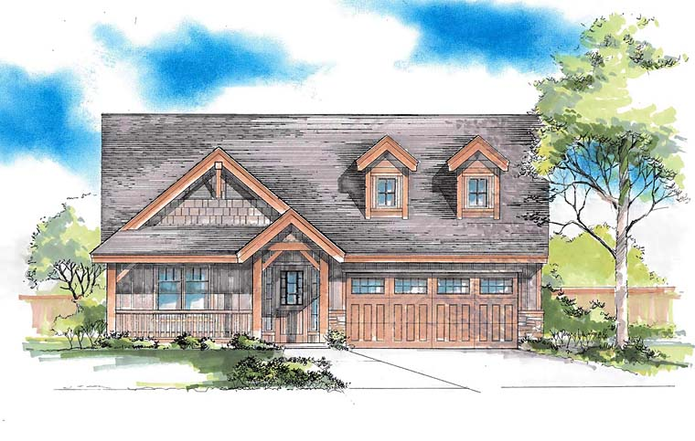 Traditional , Southern , Ranch , Craftsman , Country House Plan 44690 with 3 Beds, 2 Baths, 2 Car Garage Elevation