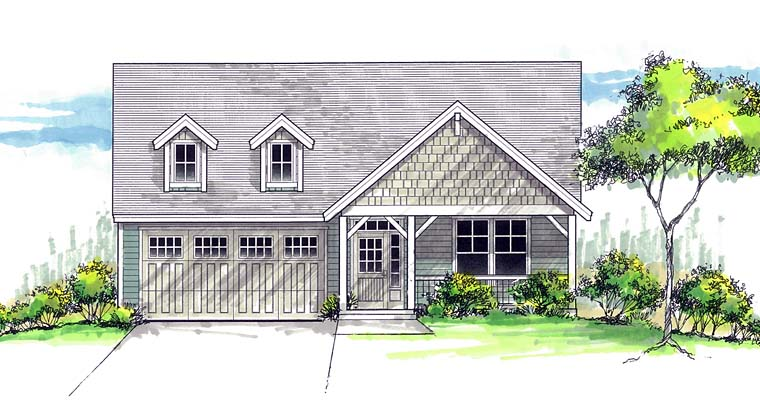 Cottage Country Craftsman Southern Traditional Elevation of Plan 44693