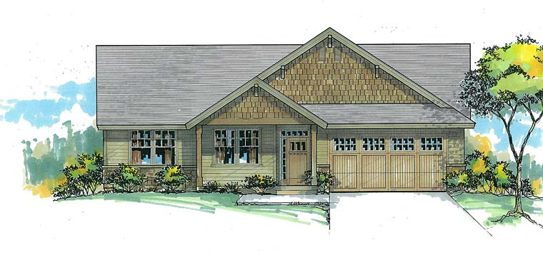 Country, Ranch, Traditional House Plan 44695 with 3 Beds, 2 Baths, 2 Car Garage Elevation