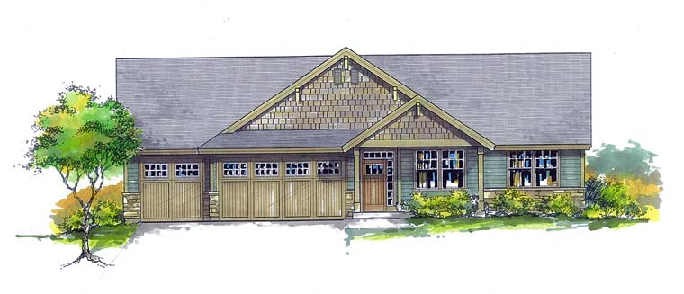 Country Craftsman Ranch Southern Traditional House Plan 44697 Elevation