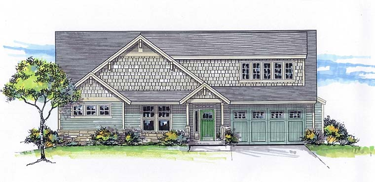Country , Craftsman , Traditional , Elevation of Plan 44698