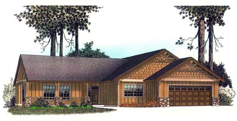 House Plan 44699 | Country Craftsman Ranch Style Plan with 1622 Sq Ft, 3 Bedrooms, 2 Bathrooms, 2 Car Garage Elevation