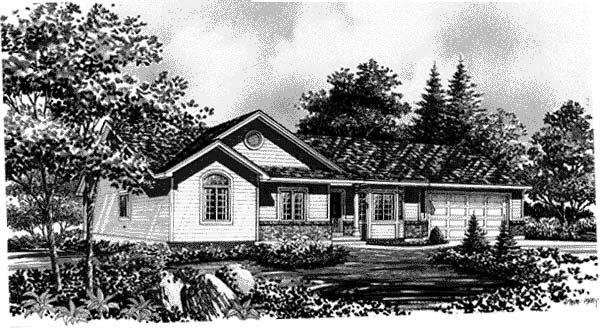 Ranch House Plan 44802 with 3 Beds, 2 Baths, 2 Car Garage Elevation