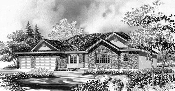 Ranch House Plan 44804 with 3 Beds, 2 Baths, 3 Car Garage Elevation