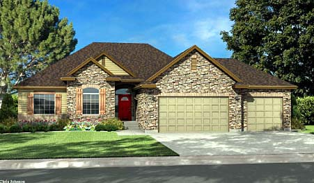Ranch House Plan 44806 with 3 Beds, 2 Baths, 2 Car Garage Elevation