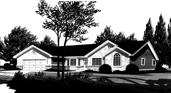 Traditional House Plan 44807 with 3 Beds, 2 Baths, 2 Car Garage Elevation