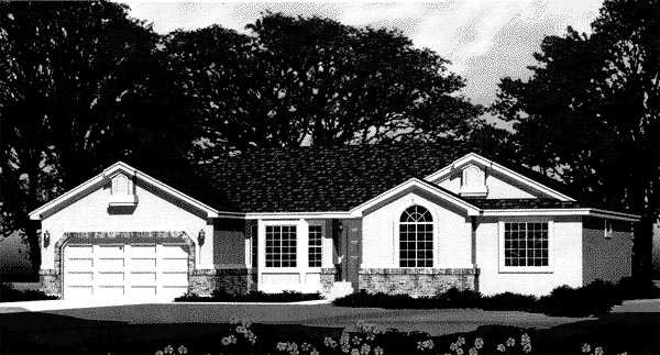 Traditional House Plan 44808 with 3 Beds, 3 Baths, 2 Car Garage Elevation