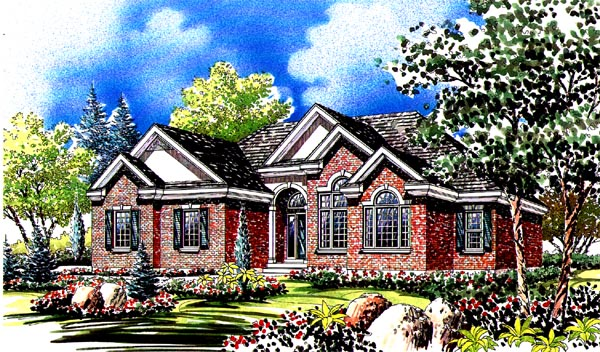 Traditional House Plan 44808 with 3 Beds, 3 Baths, 2 Car Garage Rear Elevation