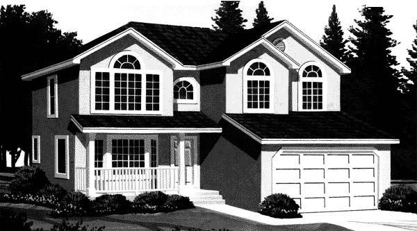 European House Plan 44811 with 4 Beds, 3 Baths, 2 Car Garage Elevation