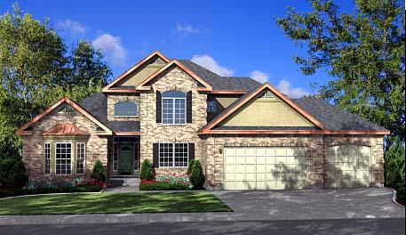 Craftsman House Plan 44815 with 4 Beds, 3 Baths, 2 Car Garage Elevation