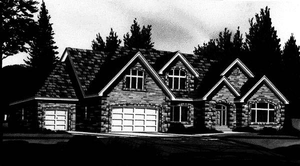 European House Plan 44817 with 4 Beds, 4 Baths, 3 Car Garage Elevation