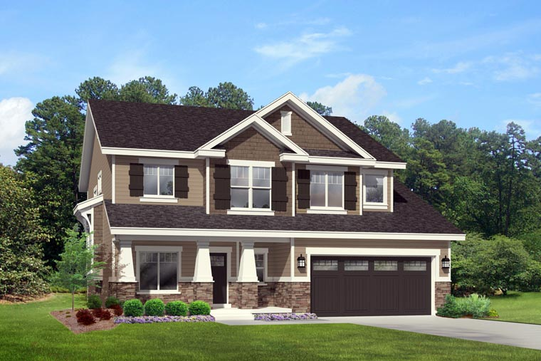 Country , Craftsman , Southern , Traditional , Elevation of Plan 44818