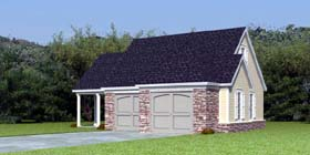 Garage Plan 44905 | Style Plan with 798 Sq Ft, 1 Bathrooms, 2 Car Garage Elevation