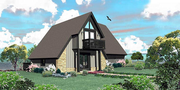 Traditional House Plan 44922 with 1 Beds, 2 Baths Elevation