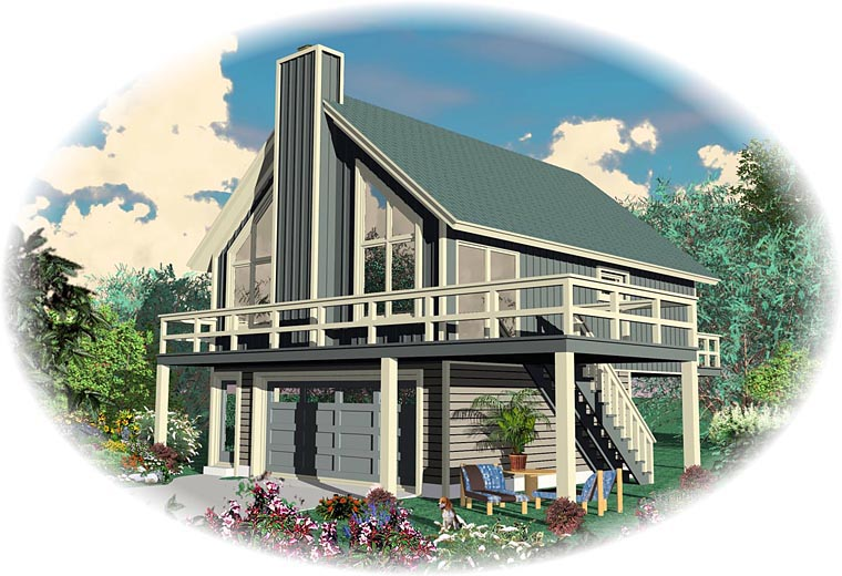 Traditional House Plan 44924 with 2 Beds, 1 Baths, 2 Car Garage Elevation