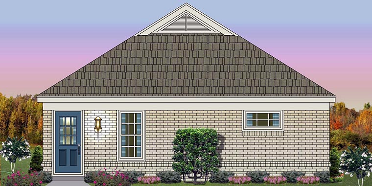 Traditional House Plan 44925 with 1 Beds , 2 Baths Elevation