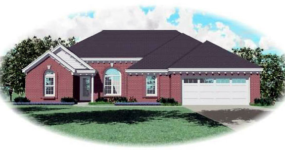 Ranch House Plan 44934 with 3 Beds , 2 Baths , 2 Car Garage Elevation