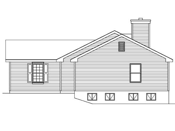 Ranch, Traditional House Plan 45100 with 3 Beds, 2 Baths, 2 Car Garage Picture 2