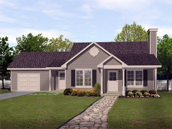 Ranch, Traditional House Plan 45102 with 2 Beds, 2 Baths, 1 Car Garage Elevation