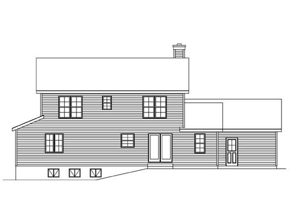 House Plan 45103 | Country Traditional Style Plan with 1782 Sq Ft, 3 Bedrooms, 3 Bathrooms, 2 Car Garage Rear Elevation