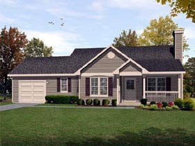 Ranch , Traditional House Plan 45104 with 2 Beds, 2 Baths, 1 Car Garage Elevation