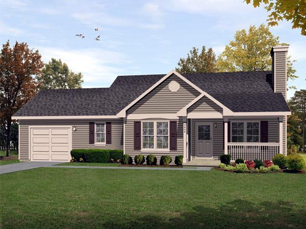 Traditional , Ranch House Plan 45104 with 2 Beds, 2 Baths, 1 Car Garage Elevation