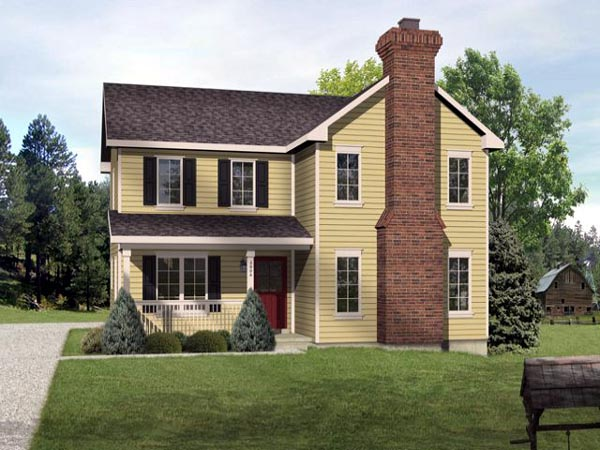 Country , Traditional House Plan 45106 with 3 Beds, 3 Baths, 2 Car Garage Elevation
