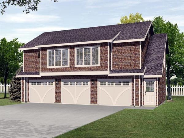 Garage Plan 45113 | Style Plan with 1128 Sq Ft, 2 Bedrooms, 1 Bathrooms, 3 Car Garage Elevation
