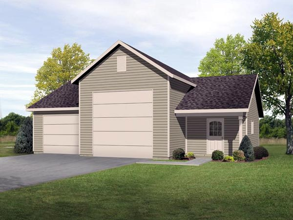 2 Car Garage Plan 45116, RV Storage Elevation
