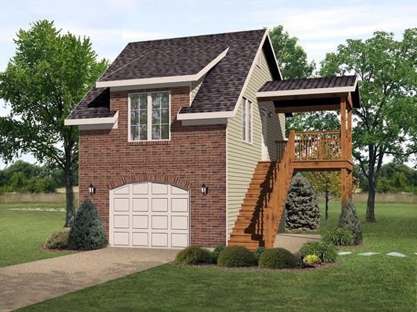 Garage Plan 45117 | Style Plan with 598 Sq Ft, 1 Bedrooms, 1 Bathrooms, 1 Car Garage Elevation