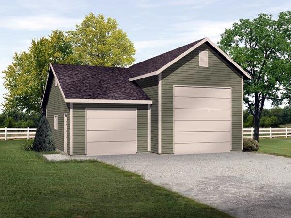 2 Car Garage Plan 45118, RV Storage Elevation